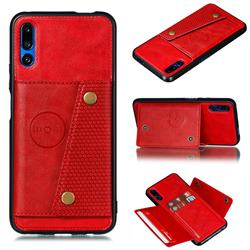 Retro Multifunction Card Slots Stand Leather Coated Phone Back Cover for Huawei Honor 9X - Red