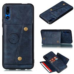 Retro Multifunction Card Slots Stand Leather Coated Phone Back Cover for Huawei Honor 9X - Blue