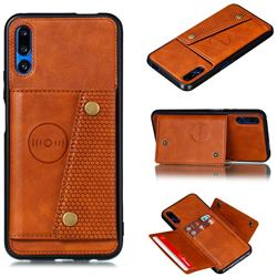 Retro Multifunction Card Slots Stand Leather Coated Phone Back Cover for Huawei Honor 9X - Brown