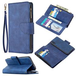 Binfen Color BF02 Sensory Buckle Zipper Multifunction Leather Phone Wallet for Huawei Honor 9X - Blue