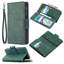 Binfen Color BF02 Sensory Buckle Zipper Multifunction Leather Phone Wallet for Huawei Honor 9X - Dark Green