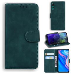 Retro Classic Skin Feel Leather Wallet Phone Case for Huawei Honor 9X - Green
