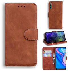 Retro Classic Skin Feel Leather Wallet Phone Case for Huawei Honor 9X - Brown