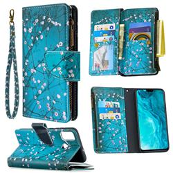 Blue Plum Binfen Color BF03 Retro Zipper Leather Wallet Phone Case for Huawei Honor 9X Lite