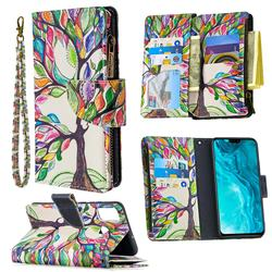 The Tree of Life Binfen Color BF03 Retro Zipper Leather Wallet Phone Case for Huawei Honor 9X Lite