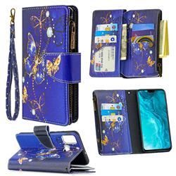 Purple Butterfly Binfen Color BF03 Retro Zipper Leather Wallet Phone Case for Huawei Honor 9X Lite