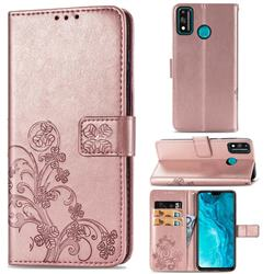Embossing Imprint Four-Leaf Clover Leather Wallet Case for Huawei Honor 9X Lite - Rose Gold