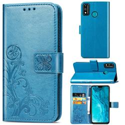 Embossing Imprint Four-Leaf Clover Leather Wallet Case for Huawei Honor 9X Lite - Blue