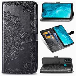 Embossing Imprint Mandala Flower Leather Wallet Case for Huawei Honor 9X Lite - Black