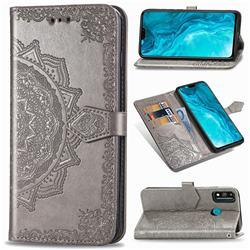 Embossing Imprint Mandala Flower Leather Wallet Case for Huawei Honor 9X Lite - Gray