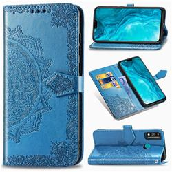 Embossing Imprint Mandala Flower Leather Wallet Case for Huawei Honor 9X Lite - Blue