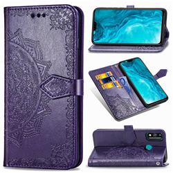 Embossing Imprint Mandala Flower Leather Wallet Case for Huawei Honor 9X Lite - Purple