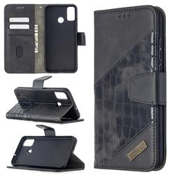 BinfenColor BF04 Color Block Stitching Crocodile Leather Case Cover for Huawei Honor 9X Lite - Black