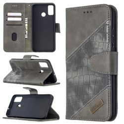BinfenColor BF04 Color Block Stitching Crocodile Leather Case Cover for Huawei Honor 9X Lite - Gray