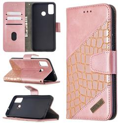 BinfenColor BF04 Color Block Stitching Crocodile Leather Case Cover for Huawei Honor 9X Lite - Rose Gold