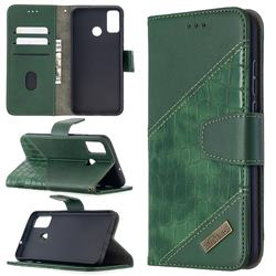 BinfenColor BF04 Color Block Stitching Crocodile Leather Case Cover for Huawei Honor 9X Lite - Green