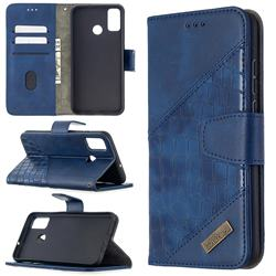 BinfenColor BF04 Color Block Stitching Crocodile Leather Case Cover for Huawei Honor 9X Lite - Blue