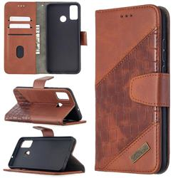 BinfenColor BF04 Color Block Stitching Crocodile Leather Case Cover for Huawei Honor 9X Lite - Brown