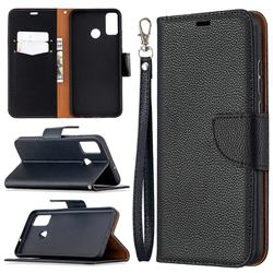 Classic Luxury Litchi Leather Phone Wallet Case for Huawei Honor 9X Lite - Black