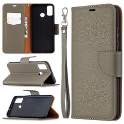 Classic Luxury Litchi Leather Phone Wallet Case for Huawei Honor 9X Lite - Gray