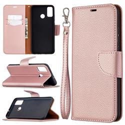 Classic Luxury Litchi Leather Phone Wallet Case for Huawei Honor 9X Lite - Golden