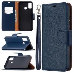 Classic Luxury Litchi Leather Phone Wallet Case for Huawei Honor 9X Lite - Blue