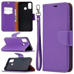 Classic Luxury Litchi Leather Phone Wallet Case for Huawei Honor 9X Lite - Purple