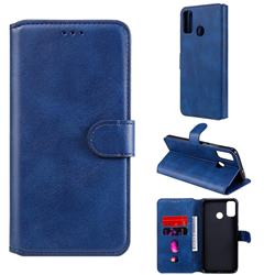 Retro Calf Matte Leather Wallet Phone Case for Huawei Honor 9X Lite - Blue