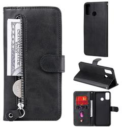 Retro Luxury Zipper Leather Phone Wallet Case for Huawei Honor 9X Lite - Black
