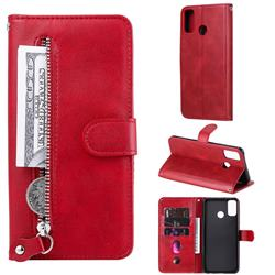 Retro Luxury Zipper Leather Phone Wallet Case for Huawei Honor 9X Lite - Red