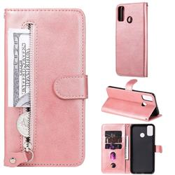 Retro Luxury Zipper Leather Phone Wallet Case for Huawei Honor 9X Lite - Pink