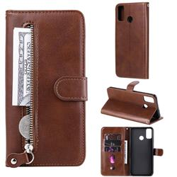 Retro Luxury Zipper Leather Phone Wallet Case for Huawei Honor 9X Lite - Brown