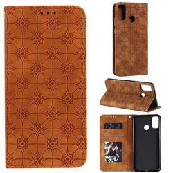 Intricate Embossing Four Leaf Clover Leather Wallet Case for Huawei Honor 9X Lite - Yellowish Brown