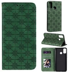 Intricate Embossing Four Leaf Clover Leather Wallet Case for Huawei Honor 9X Lite - Blackish Green