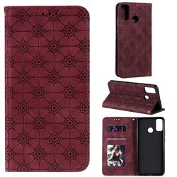 Intricate Embossing Four Leaf Clover Leather Wallet Case for Huawei Honor 9X Lite - Claret