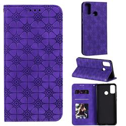 Intricate Embossing Four Leaf Clover Leather Wallet Case for Huawei Honor 9X Lite - Purple