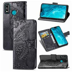 Embossing Mandala Flower Butterfly Leather Wallet Case for Huawei Honor 9X Lite - Black