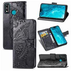Embossing Mandala Flower Butterfly Leather Wallet Case for Huawei Honor 9X Lite - Black