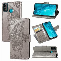 Embossing Mandala Flower Butterfly Leather Wallet Case for Huawei Honor 9X Lite - Gray