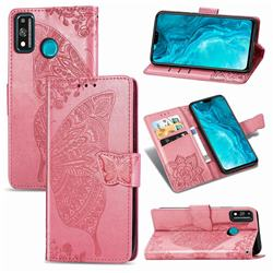 Embossing Mandala Flower Butterfly Leather Wallet Case for Huawei Honor 9X Lite - Pink