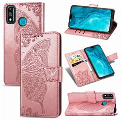 Embossing Mandala Flower Butterfly Leather Wallet Case for Huawei Honor 9X Lite - Rose Gold