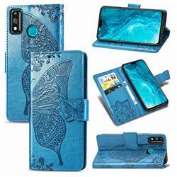 Embossing Mandala Flower Butterfly Leather Wallet Case for Huawei Honor 9X Lite - Blue