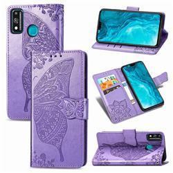 Embossing Mandala Flower Butterfly Leather Wallet Case for Huawei Honor 9X Lite - Light Purple