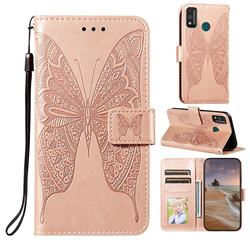 Intricate Embossing Vivid Butterfly Leather Wallet Case for Huawei Honor 9X Lite - Rose Gold