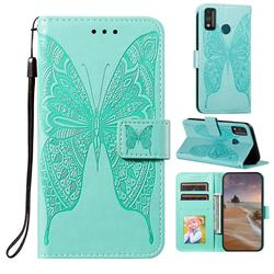 Intricate Embossing Vivid Butterfly Leather Wallet Case for Huawei Honor 9X Lite - Green