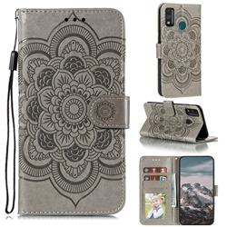 Intricate Embossing Datura Solar Leather Wallet Case for Huawei Honor 9X Lite - Gray