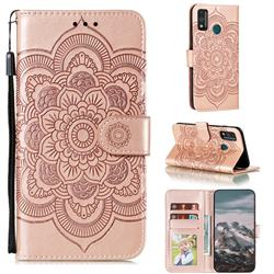 Intricate Embossing Datura Solar Leather Wallet Case for Huawei Honor 9X Lite - Rose Gold