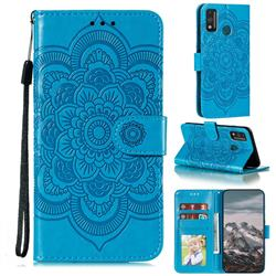 Intricate Embossing Datura Solar Leather Wallet Case for Huawei Honor 9X Lite - Blue