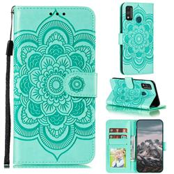 Intricate Embossing Datura Solar Leather Wallet Case for Huawei Honor 9X Lite - Green