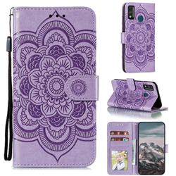 Intricate Embossing Datura Solar Leather Wallet Case for Huawei Honor 9X Lite - Purple